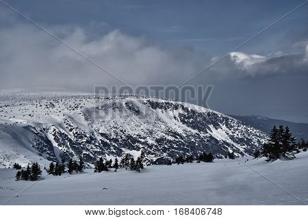 Winter landscape in the Giant Mountains in Poland