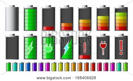Discharged And Fully Charged Smartphone Battery Set. EPS10 Vector