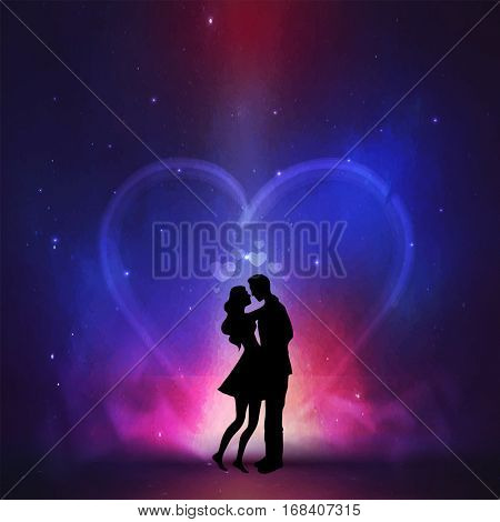 Silhouette of young couple on creative colorful night background for Happy Valentine's Day celebration.