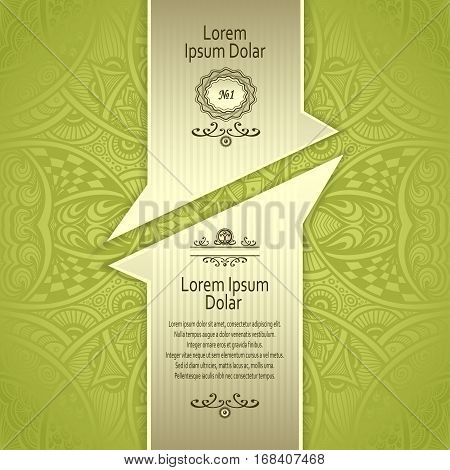 Template with Zen-tangle abstract pattern for package or label in green  and gold for advertising perfume cosmetic alcohol tea or other things