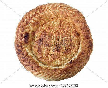 Traditional Uzbek bread lavash isolated over white