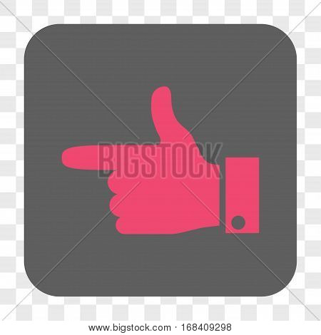 Hand Pointer Left interface toolbar button. Vector icon style is a flat symbol inside a rounded square button pink and gray colors chess transparent background.