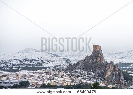 Panoramic landscape at Sax, Alicante, Spain, after a historic snowfall.