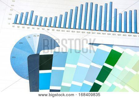 blue Color guide spectrum background close up