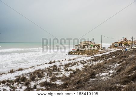 Guardamar Dunes, Alicante, Spain Panoramic landscape at Guardamar Dunes, Alicante, Spain, after a historic snowfall.