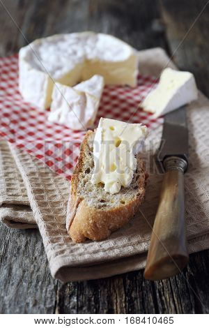 French Camembert cheese on slice of bread