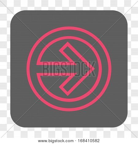 Import interface toolbar button. Vector icon style is a flat symbol inside a rounded square button pink and gray colors chess transparent background.