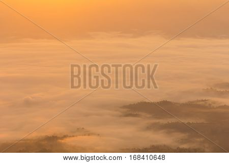Morning View from Mountain, Pha Daeng National Park in Chiangmai Thailand