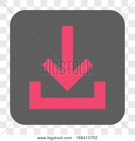 Inbox interface toolbar button. Vector icon style is a flat symbol in a rounded square button pink and gray colors chess transparent background.