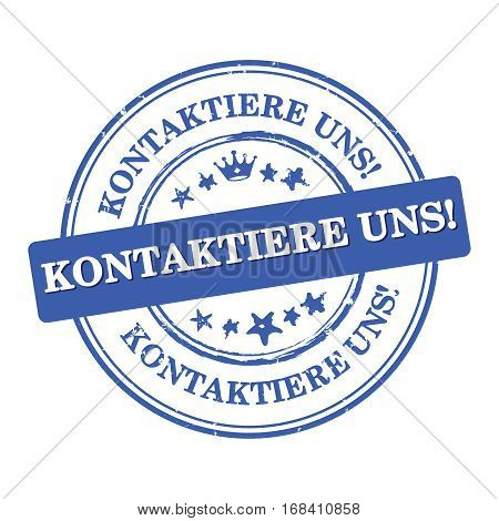 Contact us (German language) - label  / sticker  / sign / icon, also for print