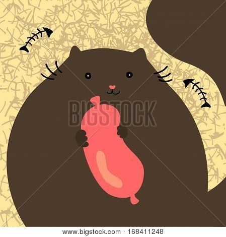Pretty cat with sousage. Simple vector drawing.