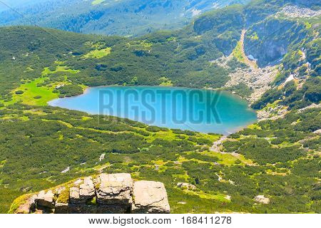 Aerial veiw mountain landscape with one of Seven Rila Lakes in National Park Rila, Bulgaria