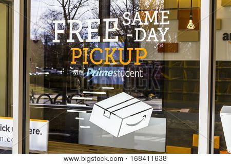 Lafayette - Circa February 2017: Amazon Store at Purdue. A brick-and-mortar store customers can receive products from Amazon.com I