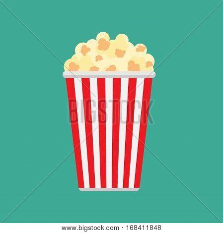 Popcorn icon symbol food cinema movie film flat vector stock
