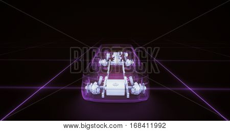 Sport car wire model with purple neon ob black background. 3d render