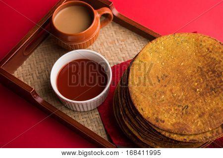 Indian famous delicious Fenugreek khakra or kasuri methi, gujarathi or gujrati snacks