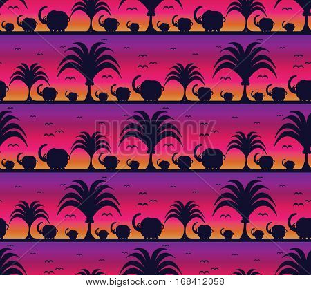 Savanna pattern with elephants at sunset background.