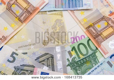 Euro banknotes money as background close up