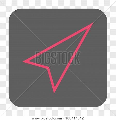 Pointer Right Up interface toolbar button. Vector icon style is a flat symbol inside a rounded square button pink and gray colors chess transparent background.
