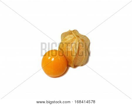 Closed up two ripe vibrant yellow Cape gooseberries, one whole, one in calyx isolated on white background