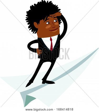 Funny Confident black business man wearing suit standing on flying paper plane and looking forward. Flat style design set