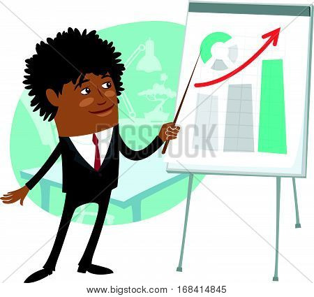 Funny Confident black business man wearing suit present development graph diagram on flip chart and smile. Flat style design set. Vector Illustration.