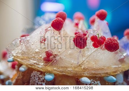 Closeup On Wedding Cake At Wedding Reception