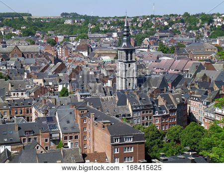 Stunning historic buildings with the impressive tower as seen from the Citadel of Namur, Belgium