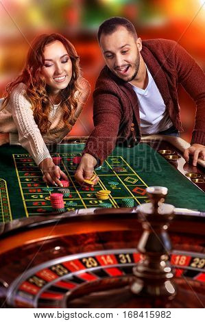 Portrait of a ypung couple in casino