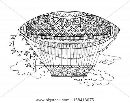 Dirigible airship coloring book for adults vector illustration. Black and white lines. Lace pattern