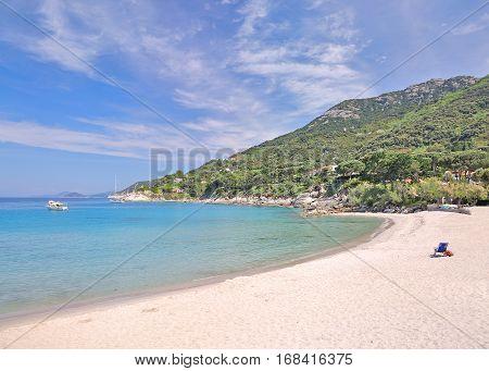 Beach at Cabo San Andrea on Elba Island,Tuscany,mediterranean Sea,Italy