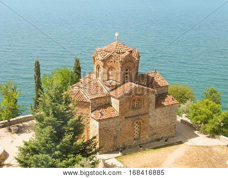 Church of St. John the Evangelist over lake of Ohrid Macedonia.