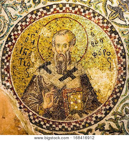 The church father Ignatius of Antioch making the Trump finger sign, Pammakaristos church Istanbul Turkey - October 11, 2013