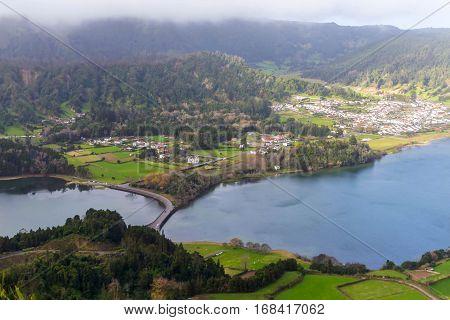 Bridge on lagoa Sete Cidades, the Azores, Porugal