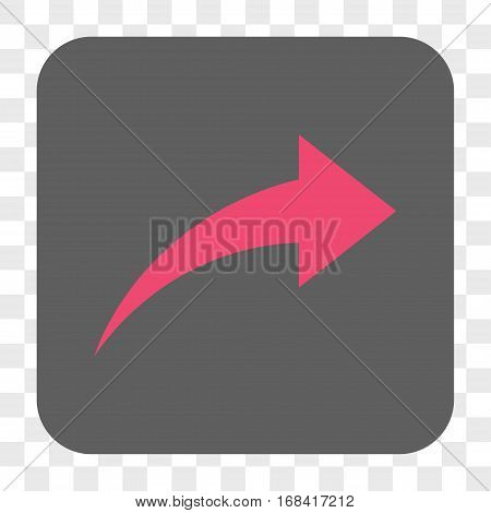 Redo interface toolbar button. Vector icon style is a flat symbol on a rounded square button pink and gray colors chess transparent background.