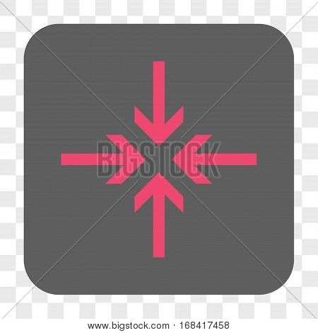 Reduce Arrows interface toolbar button. Vector icon style is a flat symbol inside a rounded square button pink and gray colors chess transparent background.