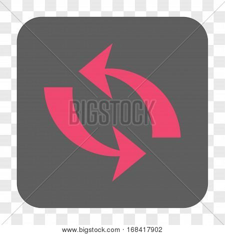 Refresh interface toolbar button. Vector icon style is a flat symbol in a rounded square button pink and gray colors chess transparent background.