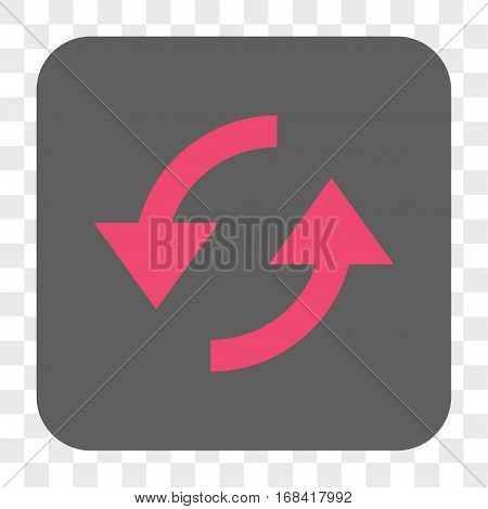 Refresh interface toolbar button. Vector icon style is a flat symbol inside a rounded square button pink and gray colors chess transparent background.