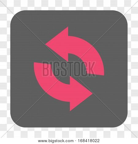 Refresh interface toolbar button. Vector icon style is a flat symbol on a rounded square button pink and gray colors chess transparent background.