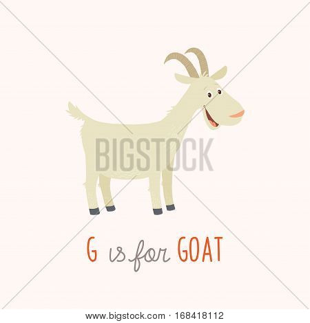 Cartoon white goat. G is for Goat. Vector clipart eps 10 hand drawn illustration isolated on white.