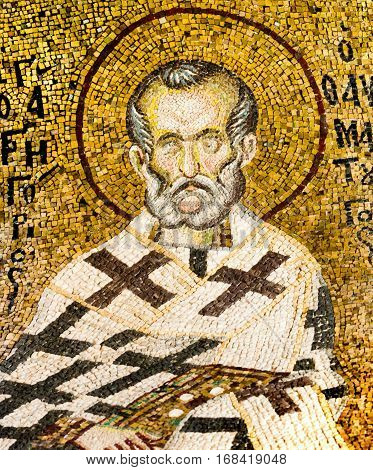 Byzantine mosaic of the christian bishop Gregory Thaumaturges, in Pammakaristos church Istanbul - October 11, 2013