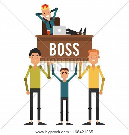 Servants are on the hands of his boss in the crown. Businessman sitting on a chair and put his feet up on the desk. Vector illustration isolated on white background.