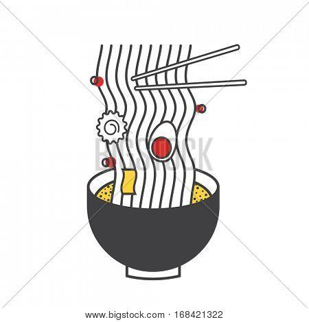 Ramen Noodle Icon Illustratiion Concept