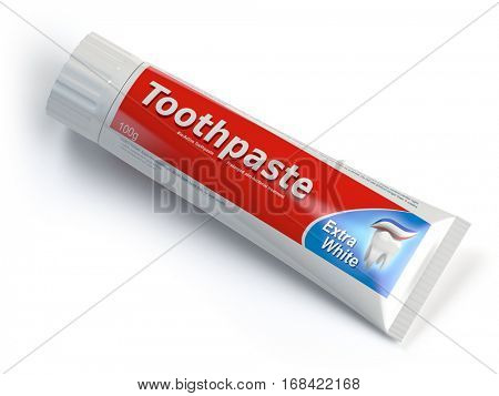 Toothpaste containers on white isolated background. 3d illustration