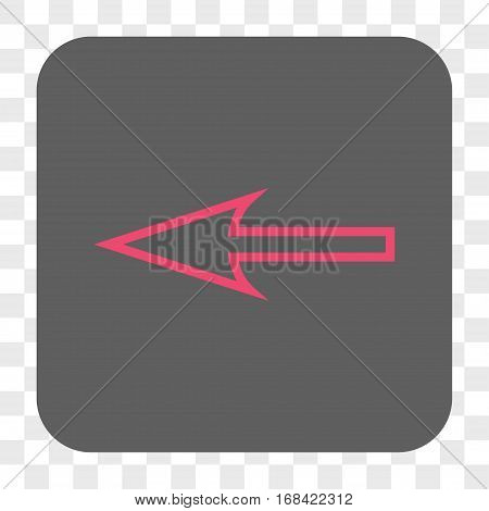 Sharp Arrow Left interface toolbar button. Vector icon style is a flat symbol inside a rounded square button pink and gray colors chess transparent background.