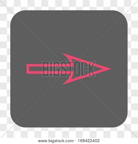Sharp Arrow Right interface toolbar button. Vector icon style is a flat symbol in a rounded square button pink and gray colors chess transparent background.