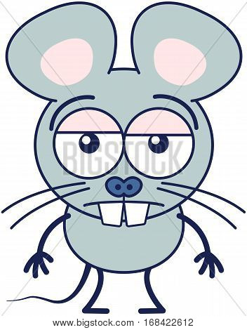 Cute gray mouse in minimalistic style with huge rounded ears, bulging eyes and big teeth while feel unmotivated and showing a sad apathetic attitude