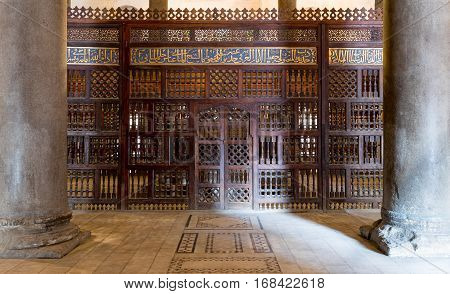 Interior view of mashrabiya screens around the cenotaph in the mausoleum of Sultan Qalawun part of Sultan Qalawun Complex built in 1285 AD located in Al Moez Street Old Cairo Egypt