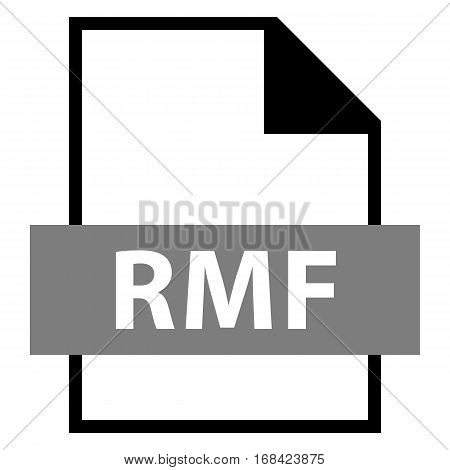 Use it in all your designs. Filename extension icon RMF Rich Music Format in flat style. Quick and easy recolorable shape. Vector illustration a graphic element.