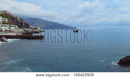 beautiful sailboat off the coast of Funchal Madeira Portugal